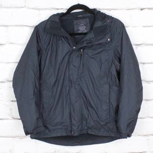 LL Bean Black Fleece Lined Rain Jacket Coat Size L
